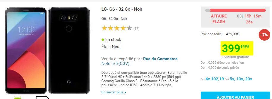 Smartphone LG G6 4/32Go Noir