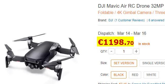Drone DJI Mavic Air Noir (Kit)