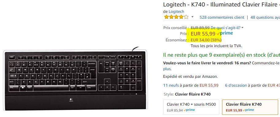 Clavier Logitech K740