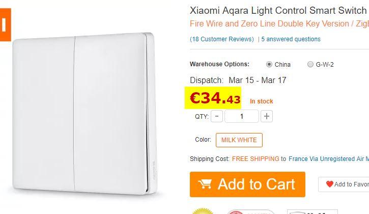 Interrupteur double Xiaomi Aqara filaire + sans fil