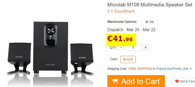 Enceintes 2.1 Microlab M108