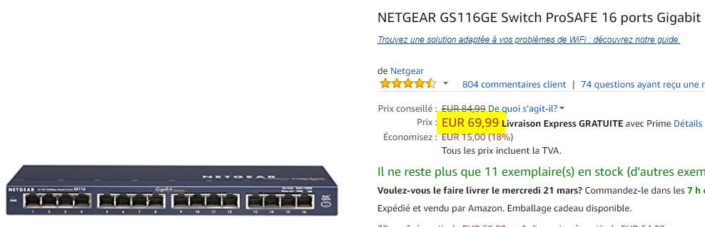 Switche Netgear GS116GE ProSAFE 16 ports Gigabit