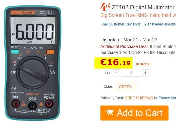 Multimètre numérique ZT102