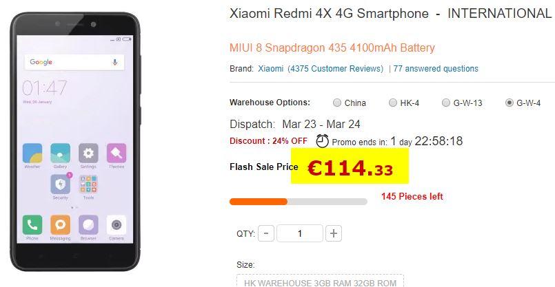 Smartphone Xiaomi Redmi 4X 3/32 Go