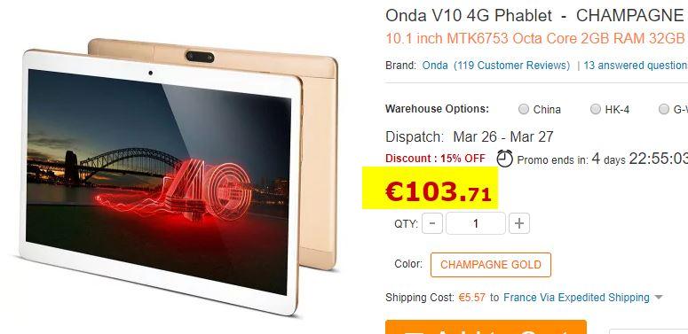 Tablette Onda V10 Android 7.0 + 4G