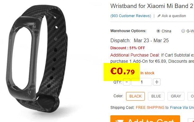 Bracelet pour Xiaomi Mi Band 2 noir