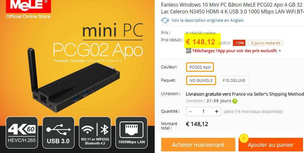PC Stick Mele PCG02 Apo Celeron N3450 4/32 Go