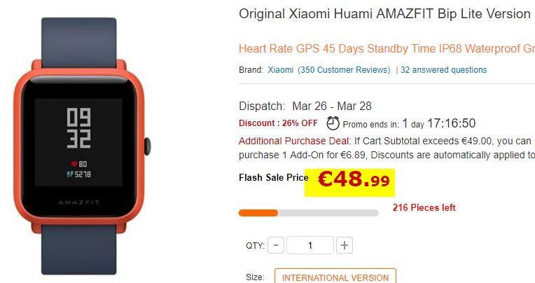 Montre Xiaomi AMAZFIT BIP Gris / Orange