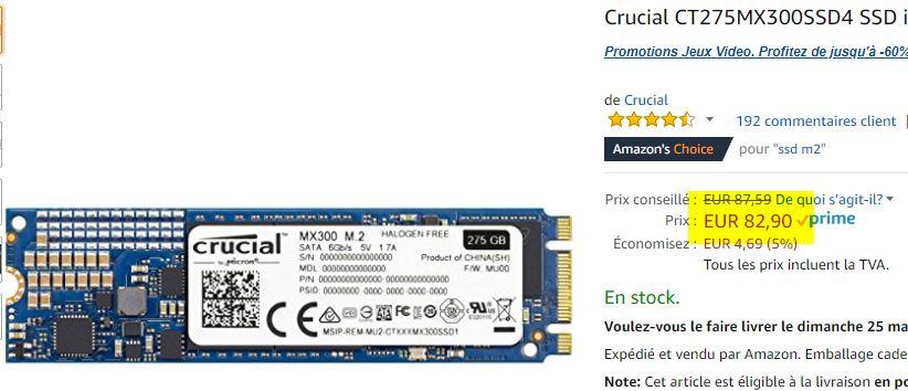SSD M2 Crucial MX300 275Go