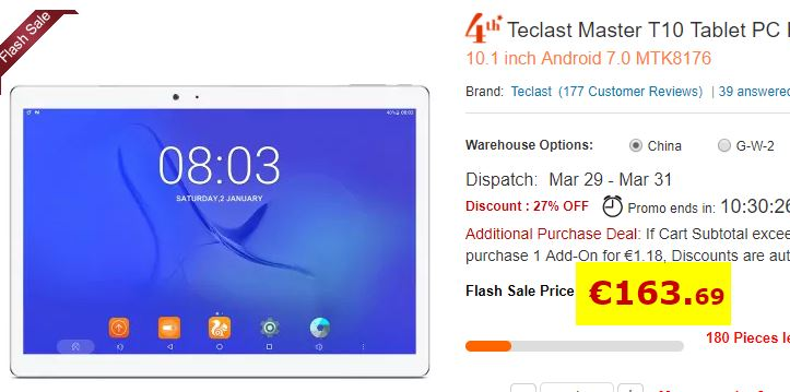 Tablette Android Teclast T10 4/64 Go
