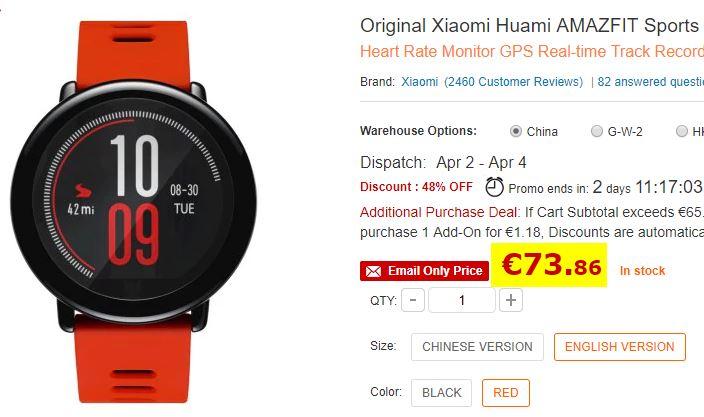 Montre connectée Xiaomi Huami AMAZFIT rouge