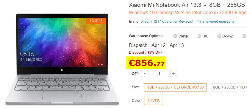 Ultrabook Xiaomi 13.3″ I5-8250U 8Go/256Go + GeForce MX150