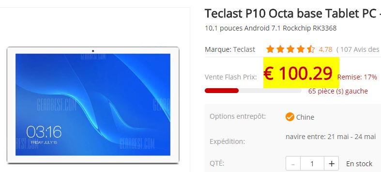 Tablette Android Teclast P10
