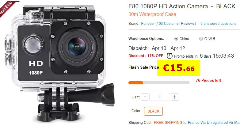 Camera sportive F80 1080P