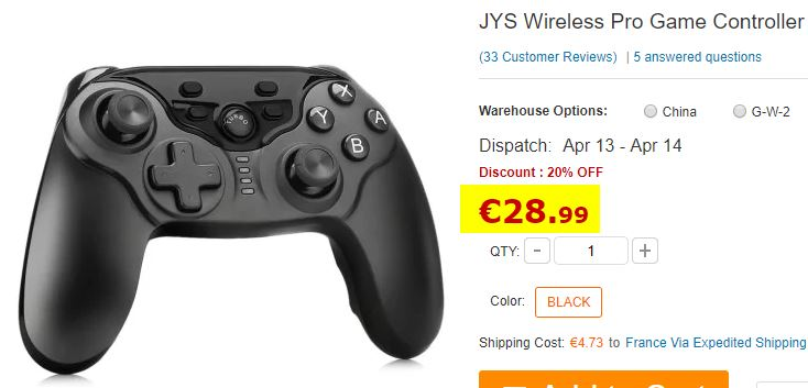 Manette Nintendo Switch JYS Wireless Pro