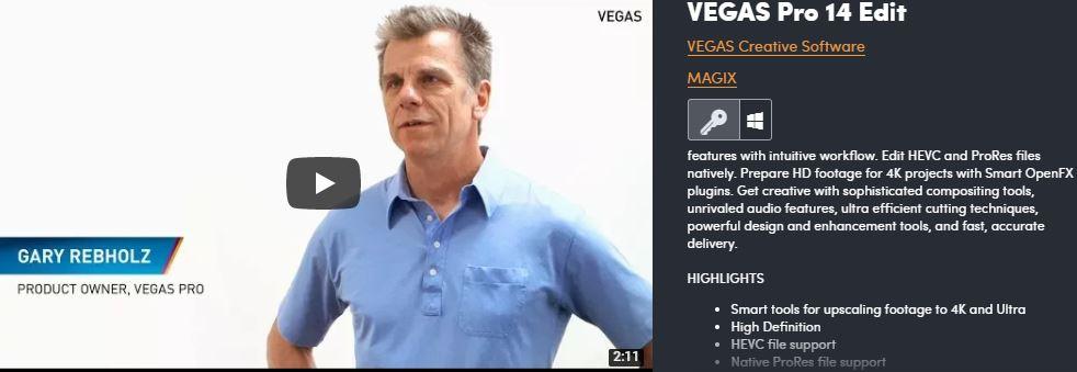 Logiciel de montage vidéo Vegas Pro 14 Edit