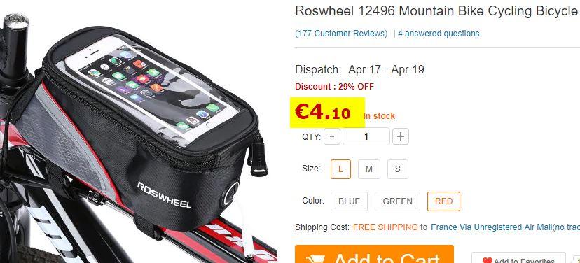 Sacoche vélo tube avant Roswheel