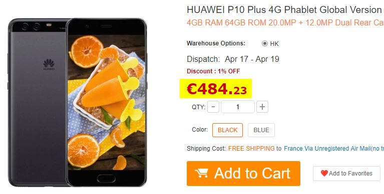 Smartphone HUAWEI P10 Plus 4/64Go