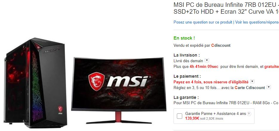 PC de bureau MSI Core i5-7400 - 8Go - 128Go/2To - 1050Ti + Ecran 32