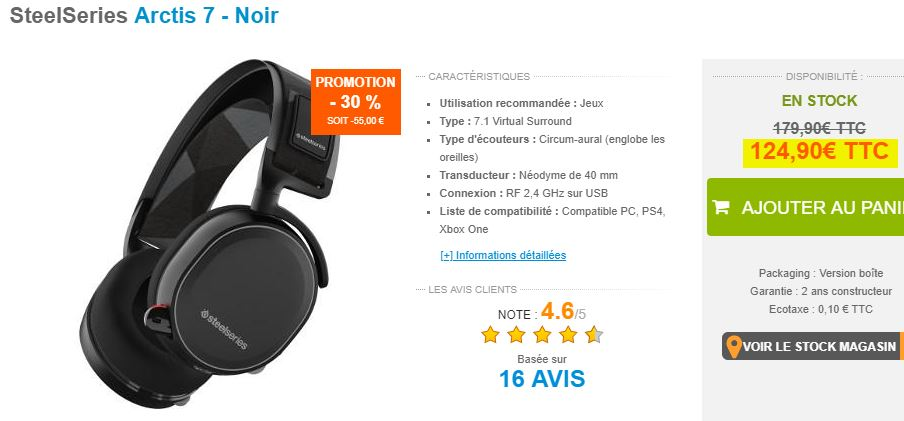 Casque Audio SteelSeries Arctis 7