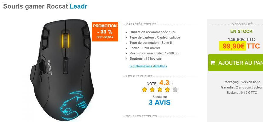 Souris gamer Roccat Leadr