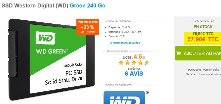 SSD Western Digital Green 240 Go