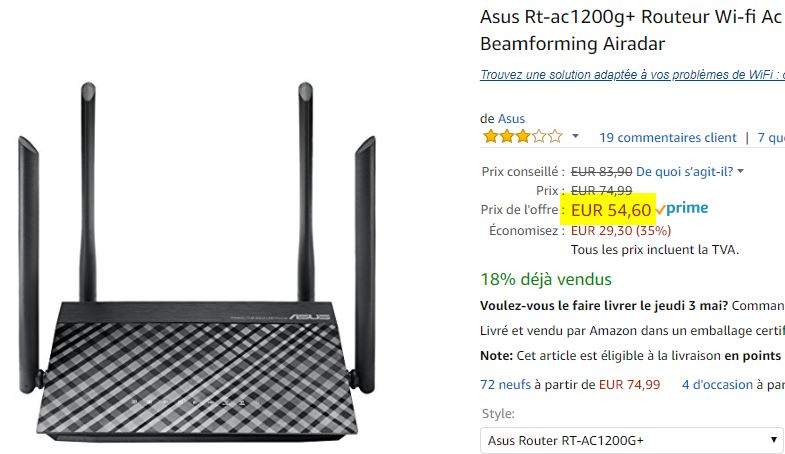 Routeur Wifi Asus Rt-ac1200g+