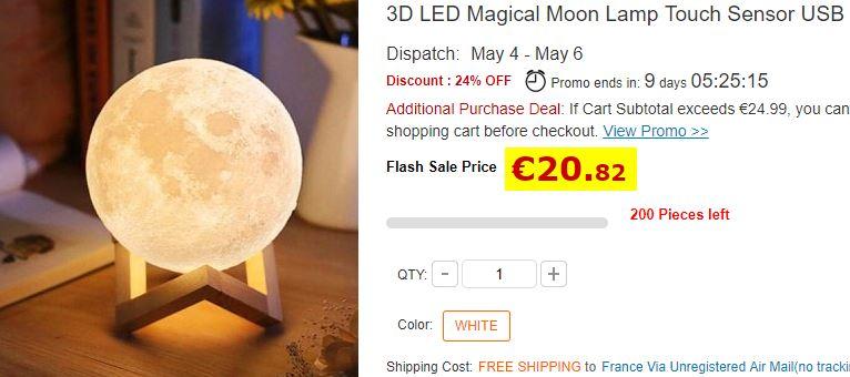 Lampe lune LED avec batterie