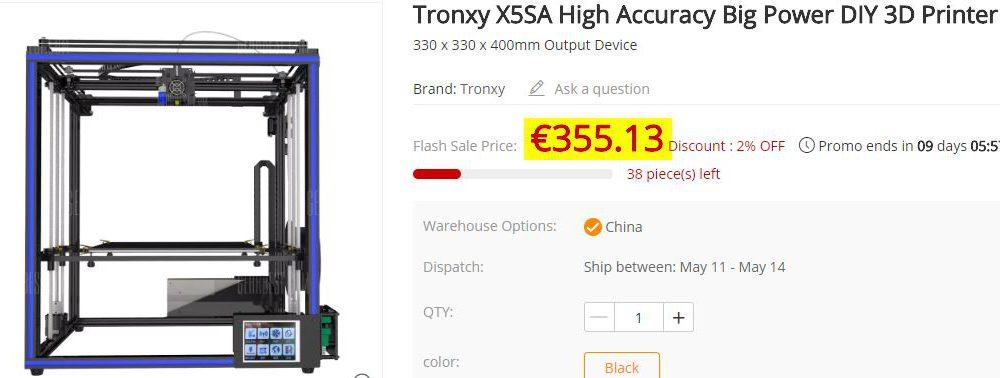 Imprimante 3D Tronxy X5SA Grand format
