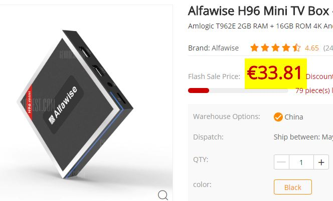 TV Box Alfawise H96 Mini 2/16Go