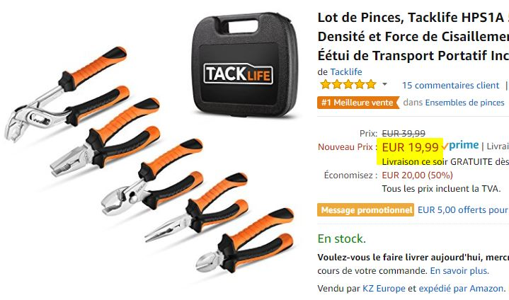 Lot de 5 pinces Tacklife HPS1A + étui de transport