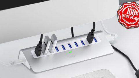 Hub USB 3.0 10 ports Aukey avec adaptateur