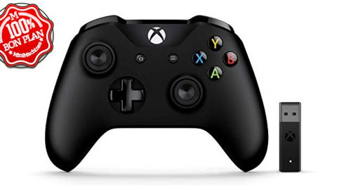 Manette Microsoft Xbox One + adaptateur sans fil Windows 10