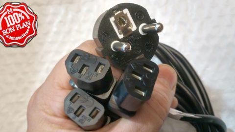 Câble d'alimentation Inline Y : 1 prise mâle 3 prise femelle C14