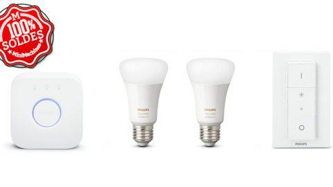 Solde : PHILIPS HUE - 2 Ampoules E27 + pont et variateur