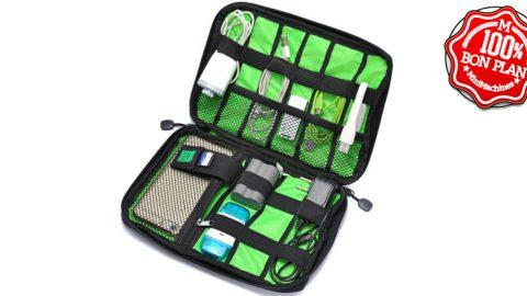 Pochette de rangement accessoires GoComma verte et noire