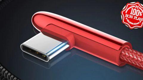 Câble USB type-C 3A coudé 1.2 m Noir ou rouge