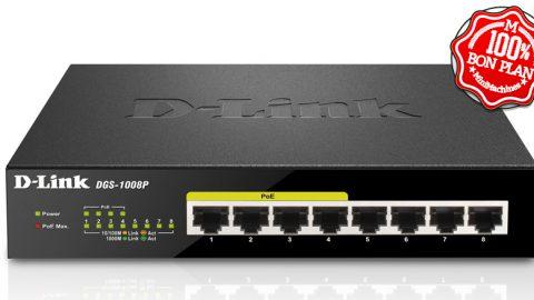 Switch D-Link DGS-1008P 8 ports Gigabit dont 4 PoE