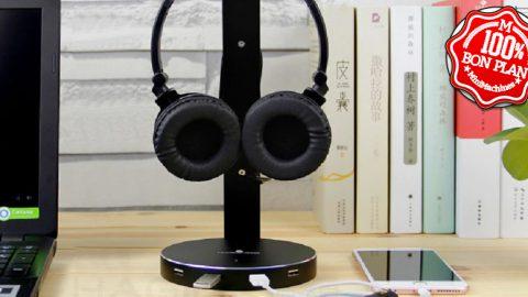 Support de casque audio + Hub 4 ports USB 3.0