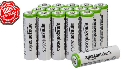 Lot de 16 batteries rechargeables AA AmazonBasics 2000 mAh