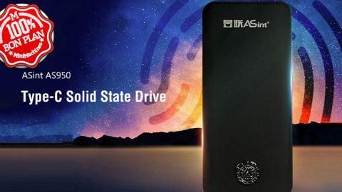 Stockage SSD ASint AS950 240Go USB Type-C et capteur d'empreintes