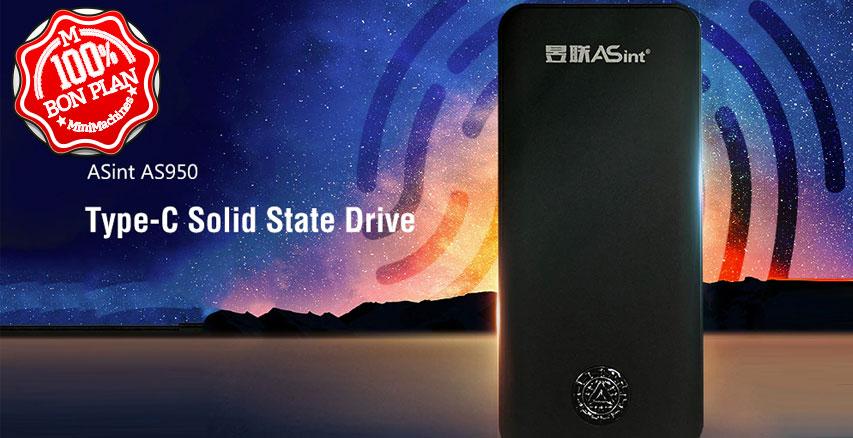Stockage SSD ASint AS950 250Go USB Type-C et capteur d'empreintes
