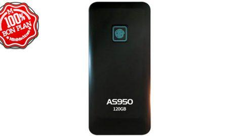 Stockage SSD ASint AS950 120Go USB Type-C et capteur d'empreintes
