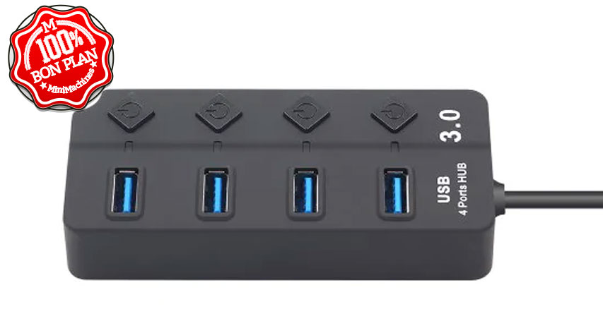 HUB USB 3.0 GoComma 4 ports avec interrupteurs