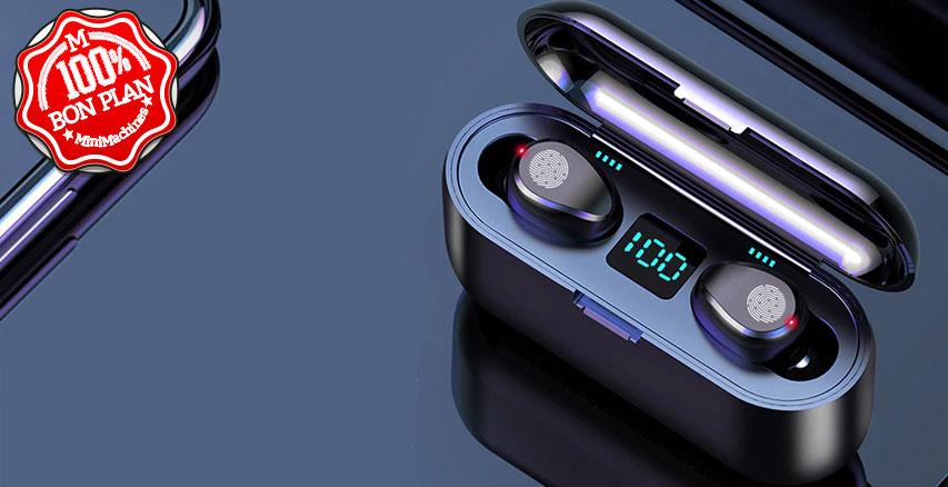 Casque oreillette Bluetooth  GoComma F9 + boitier batterie
