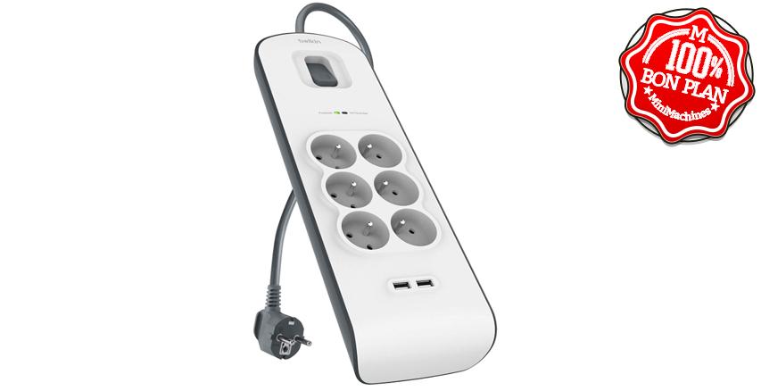 Multiprise Belkin 6 prises + parafoudre et 2 ports USB