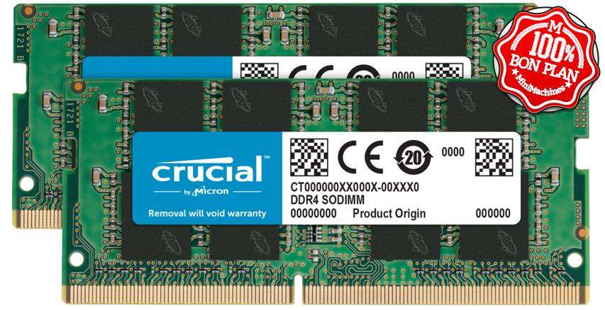 Kit mémoire DDR4 16Go (2x8Go) SoDIMM Crucial 2666 MHz