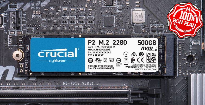 SSD M.2 2280 Crucial P2 500 Go NVMe PCIe