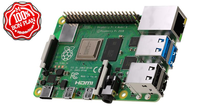 Kit complet Carte Raspberry Pi 4 B 2Go + carte 32 Go + accessoires