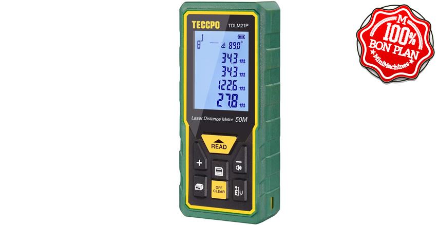 Télémètre laser TECCPO TDLM21P 50m + surface et volume